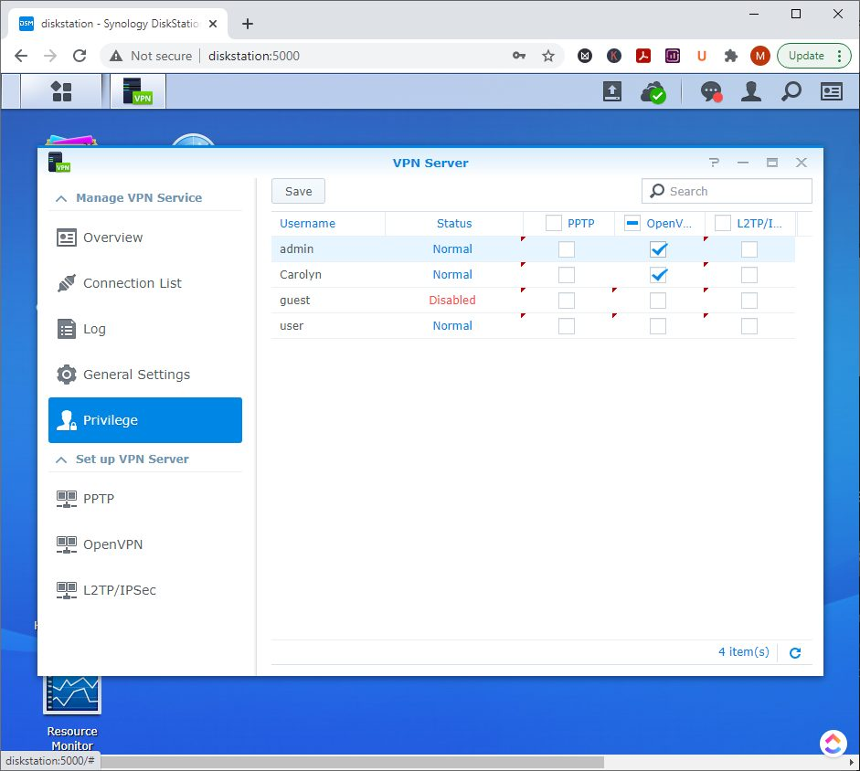 Synology VPN Server - how to configure privilege permissions